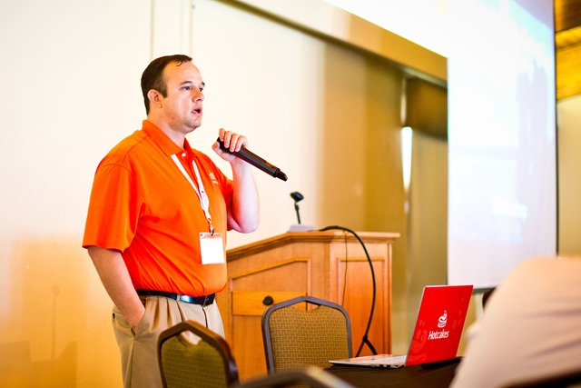 Will Strohl speaking at an open source conference