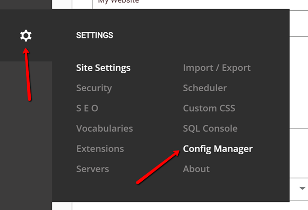 Persona Bar > Configuration Manager