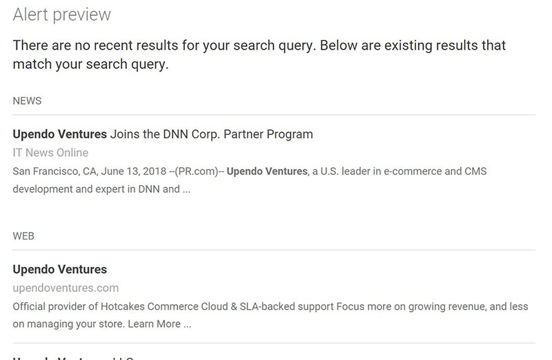 Upendo Ventures:  Seeing a Google Alert Preview